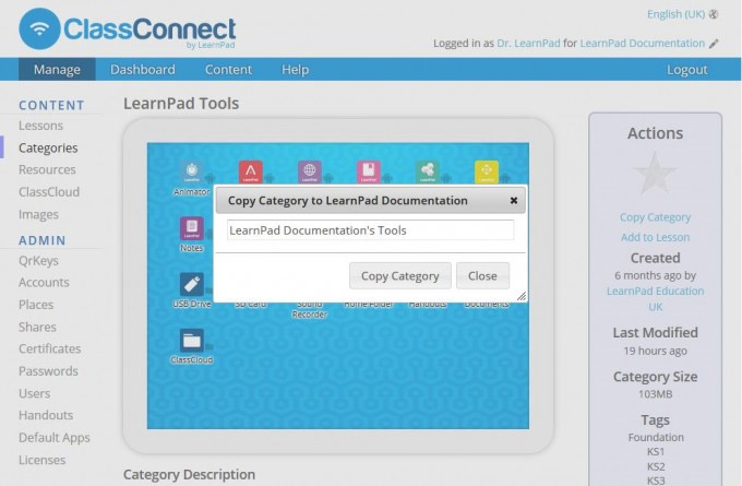 ClassConnect iPad LearnPad tools category