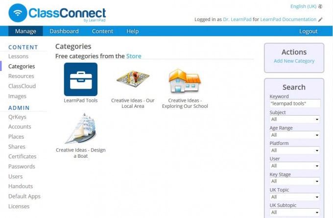 ClassConnect iPad LearnPad tools screenshot
