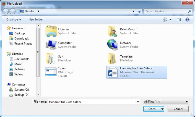 iPad ClassConnect file upload screenshot