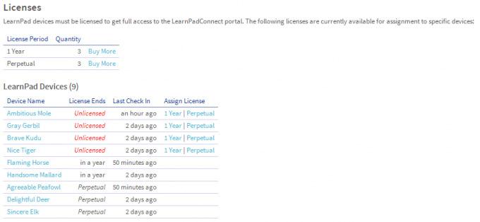 iPad ClassConnect licenses screenshot