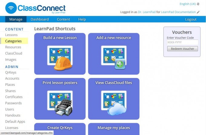 LearnPad ClassConnect iPad categories