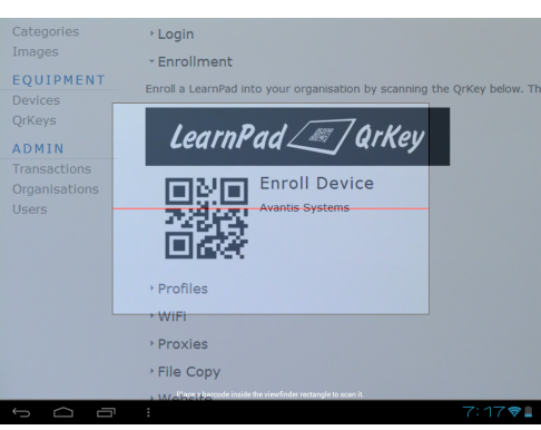 Using the LearnPad QrKey Scanner